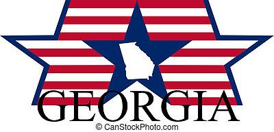 Georgia state map, flag, seal and name.