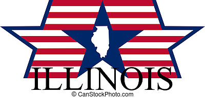 Illinois state map, flag and name.