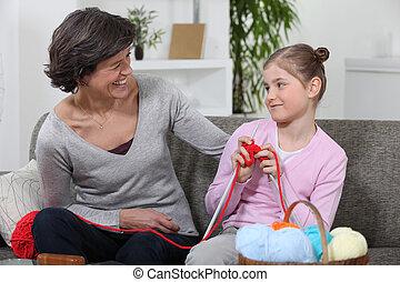 mujer, ella, nieta, Cómo, enseñanza, tejer