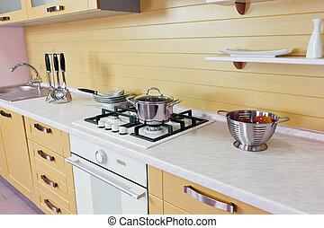 Kitchen - Part of modern kitchen furniture of the yellow...