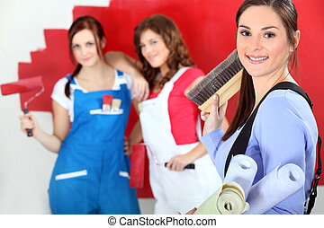 Trio of female decorators