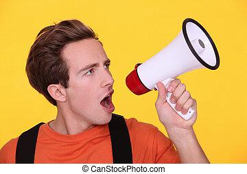 擴音器, 年輕, 人, 叫喊