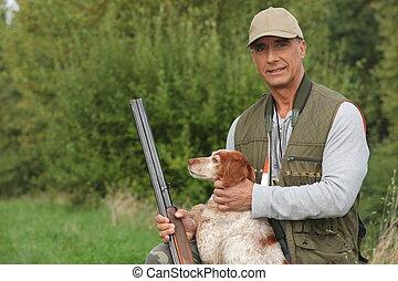 caçador, Crouching, cão