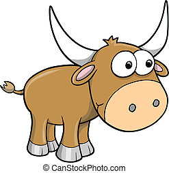 Goofy Happy Bull Cattle Animal Vector Illustration Art