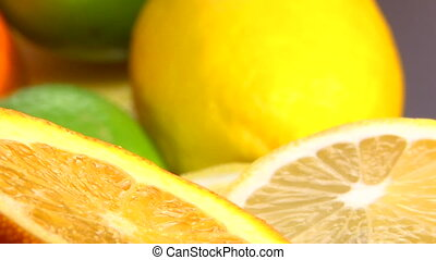 Citrus, Orange, lemon, camera dolly, extreme closeup
