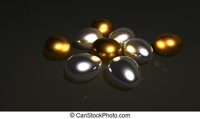 silver and gold eggs - golden egg animation for saving money...