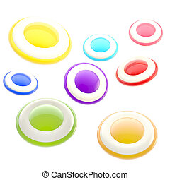 Set of glossy colorful buttons, icons, isolated