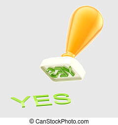 """Yes"" rubber stamp isolated"