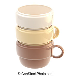Three coffee cups one inside another - Three coffee glossy...
