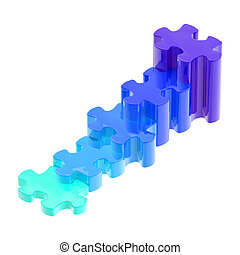 Blue puzzle pieces set as a staircase isolated - Blue glossy...
