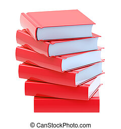 Pile of red glossy books isolated