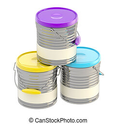 Set of three glossy paint buckets isolated