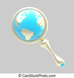 Magnifying glass icon with an earth globe inside