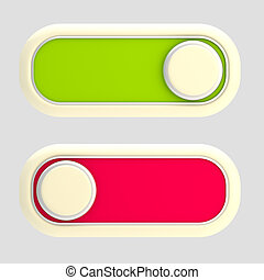 Open and close: glossy slider lock isolated - Open and...