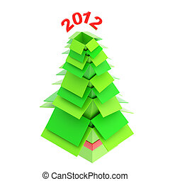 Christmas tree made of cardboard boxes - Christmas tree made...