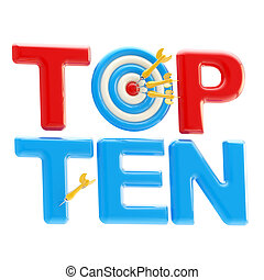 "Top ten sign with dart target as an ""o"" - Top ten red and..."