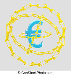 Euro sign encircled with golden chains isolated - Blue...