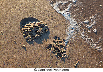 Footprint on Volga Beach in Samara, Russia