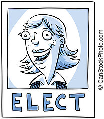 Election Poster - A woman candidate smiling on an election...