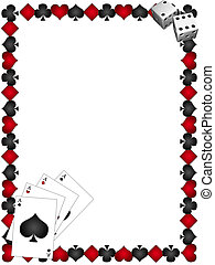 Playing Cards with border on a white background