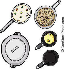 Pots and Pans - Top-view of pots and pans with food isolated...