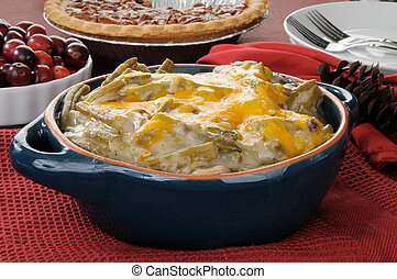 Holiday green bean casserole - A green bean casserole on a...