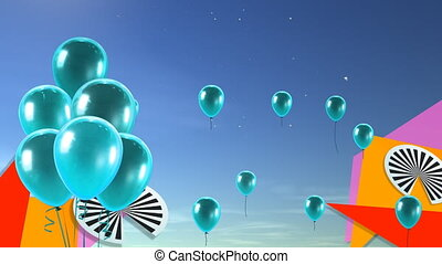 sea blue balloons background - balloons flying to the sky