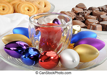 navidad, tabla, centro de mesa