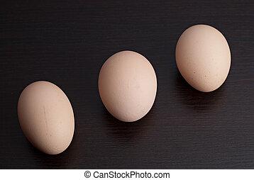Eggs on a dark background