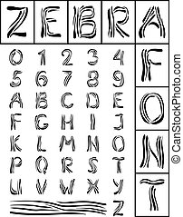 Zebra Font - The font in which letters of the zebra stripes