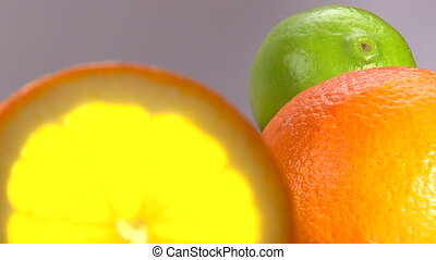 Citrus, Orange, lemon, lime, rotate, 2 clips sequence