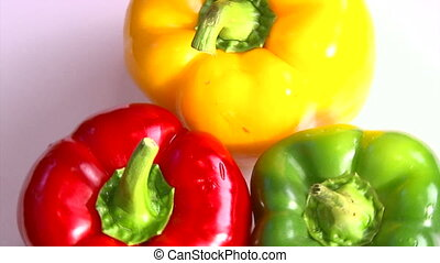 Vegetables, bell pepper, rotate - Vegetables, three-color...