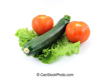 zucchini and tomato on salad - details of a fresh zucchini...