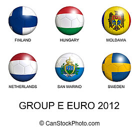 soccer balls with european flags of group E euro 2012 over white background