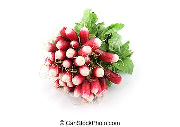 Radishes isolated - details of radishes  isolated on white