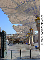 Canopy Outside Nabawi Mosque - a lot of canopy provided for...