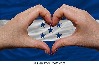 encima, nacional, bandera, honduras, demostrado, corazón,...