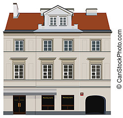 Classic facade - Facade of building from Warsaw. Famous Nowy...