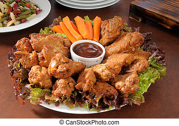 Chicken wings party tray - A party tray with chicken wings...