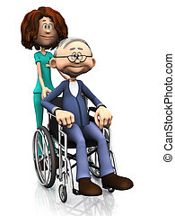 Cartoon nurse helping older man in wheelchair.