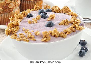 arándano, yogur, granola