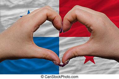 encima, nacional, bandera, Panamá, demostrado,...