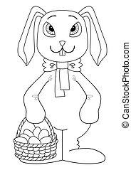 ovos, Páscoa, contorno, coelho