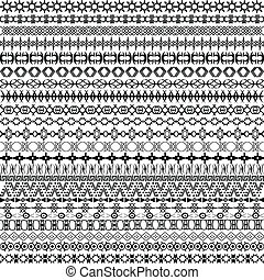 Set of borders, ethnic motifs background