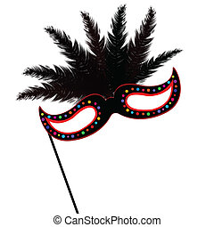 Mardi Grass mask with black feather