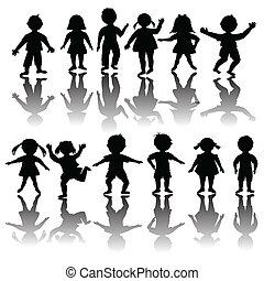 Set of black children silhouette