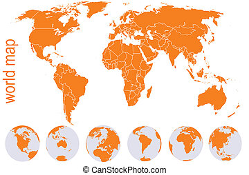 Orange world map with Earth globes