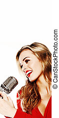 Woman In Red With Microphone - Beautiful blonde woman in red...