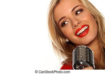 hermoso, Cantante, con, micrófono
