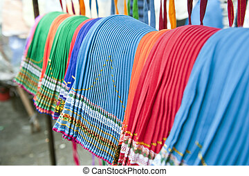 colorful indigenous market of Otavalo - the beautiful and...